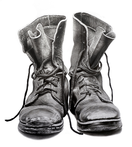 Drawing of old pair of boots